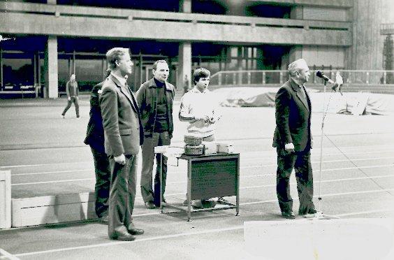 Слева направо: Беллюстин В.А.,(зам. ген. дир.) Кузнецов В.Ф.(нач. РСУ-3), Авачов М.И. (отв. за спорт), Агеев И.А. (предс. профкома Мослифта)